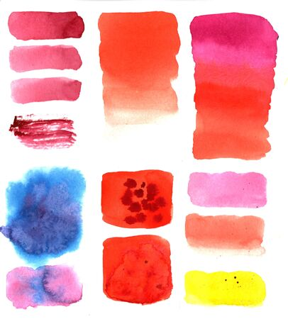 Watercolor design colorful elements for banner, scrapbook, craft, card, decor. Template for text. Hand drawn isolated stains on white background. Brush painted stickers. Abstract set of colored watercolor spots figures
