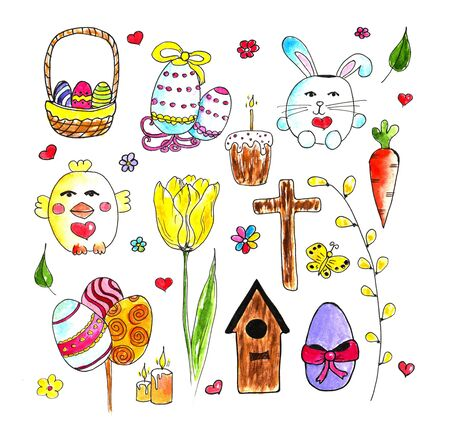 Easter Doodle watercolor set. Hand drawn easter doodles set isolated on white background. Stock fotó