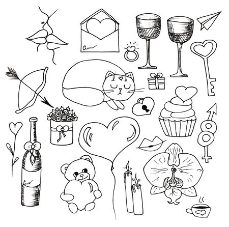 Love decorative vintage elements, hand drawn collection with arrow, heart, tatoo, flower, tea and cat. Doodle set, illustration for design 写真素材