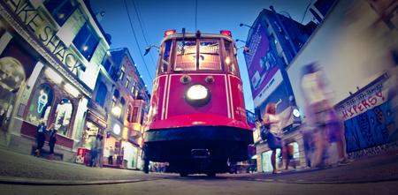 Taksim Istiklal Street, red tram. Istanbul, Turkey