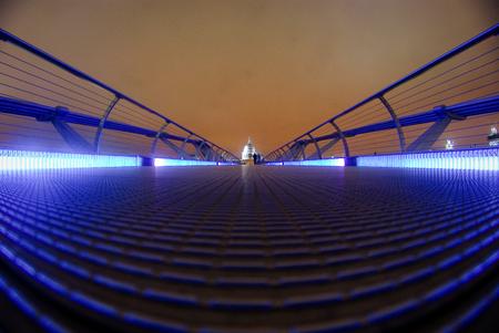 Millenium bridge leads St Paul's Cathedral in London