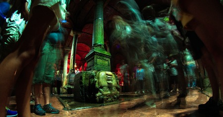 cistern: Gorgon Medusa. The Basilica Cistern is the largest of several hundred ancient water reservoirs