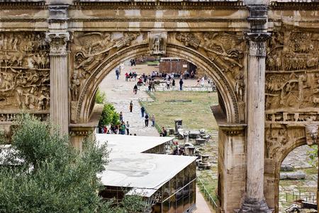 severus: Arch of Septimius Severus in Roman forum, Italy Stock Photo