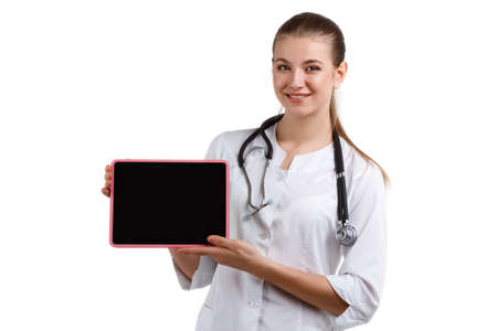 phonendoscope: woman doctor in a medical gown with phonendoscope