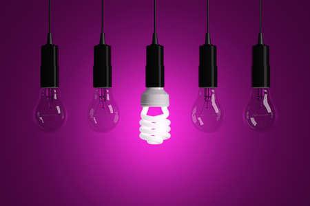 Light bulbs on magenta background