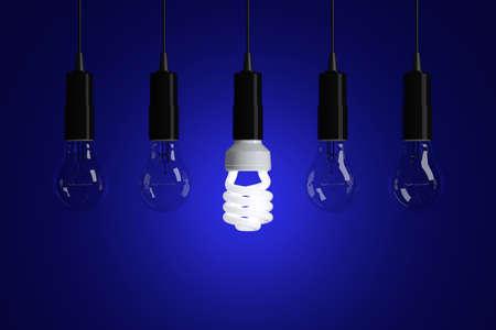 glower: Light bulbs on blue background
