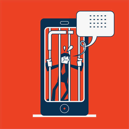 locked up: man gets locked up in concept smart phone addiction