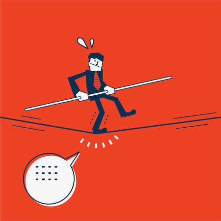 rope walker: businessman keeping his balance walking on tightrope Illustration