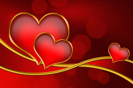 Valentine hearts floating on a gold ribbon. Imagens