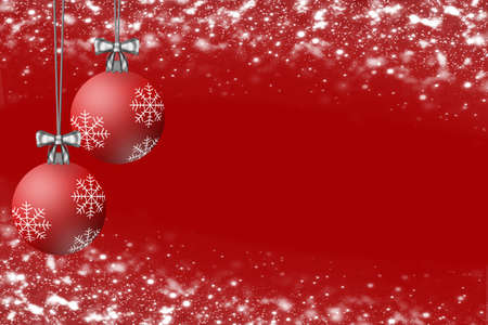 Red Christmas hanging ornements on a red background. Stock Photo