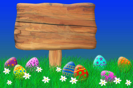 Wooden Sign Surrounded by Easter Eggs Stok Fotoğraf - 69713908