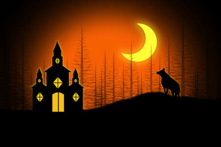 Spooky Halloween church and wolf under a cresent moon. Stock Photo