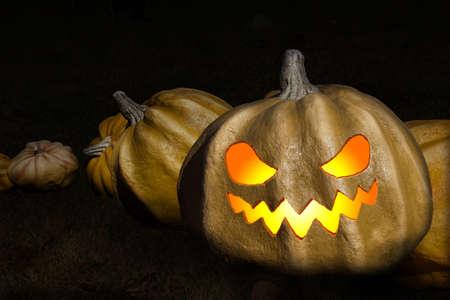 Halloween Pompoenen in een Rij