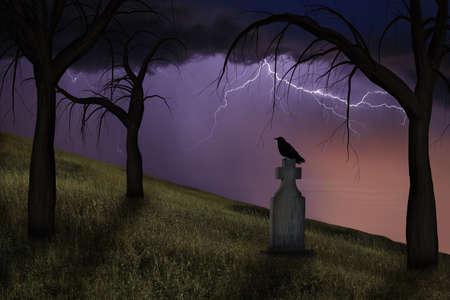 headstone: Spooky crow on a headstone in a graveyard under stormy skies