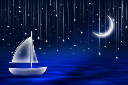 Sailboat floating under falling stars.