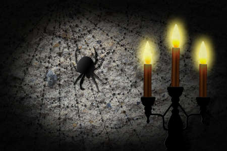 Candle lit spider web.