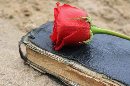 Old Black Book on Beach Sand