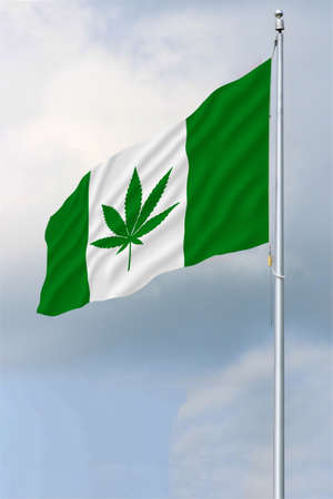 Green and white Canadian flag with a pot leaf waving in the wind on a flagpole