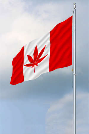 Red and white Canadian flag with a pot leaf waving in the wind on a flagpole Stock Photo
