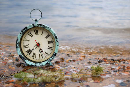 shorelines: Antique alarm clock on a lakeshore in pebble covered sand
