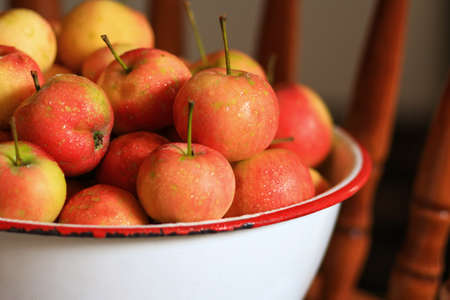 Delicious organic crabapples in an antique bowl