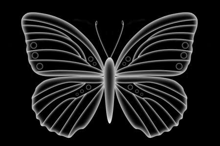 Illustration of a florescent butterfly isolated on a black background. Фото со стока