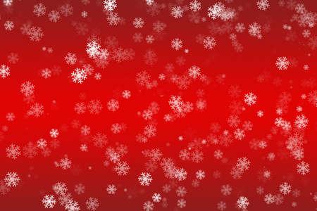 Fallende Schneeflocken auf einem roten Hintergrund