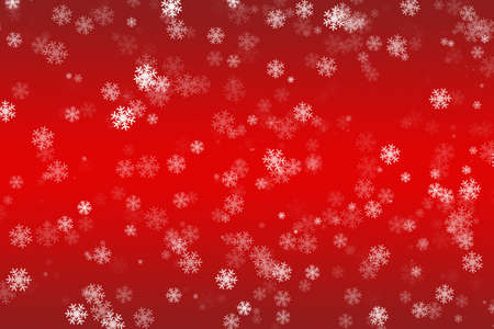 Falling snowflakes on a red background