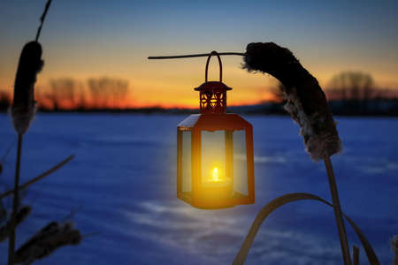 Burning lantern hanging on a bullrush over a frozen pond in the sunset