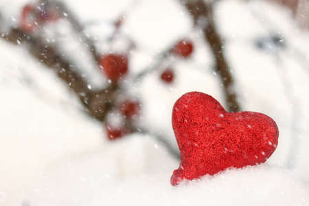 Red glitter heart in the winter snow Banque d'images - 101546369