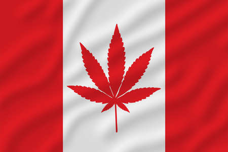 Marijuana flag with a pot leaf in the middle
