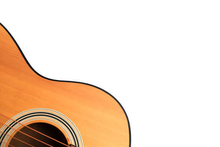 Close up of an acoustic guitar isolated on a white background Standard-Bild - 112617131