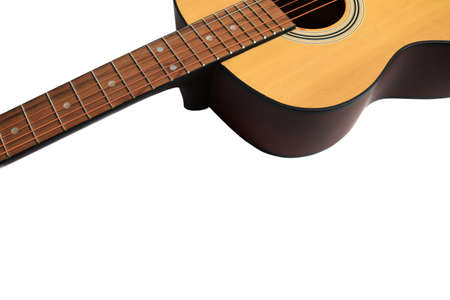 Close up of an acoustic guitar isolated on a white background Standard-Bild - 112617150