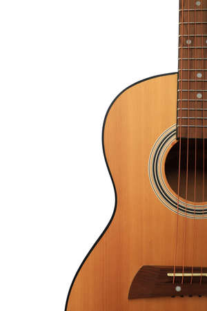 Close up of an acoustic guitar isolated on a white background Standard-Bild - 112617155