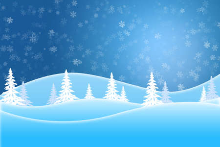 Blue winter scene of snow covered trees and hills under a star lit sky Standard-Bild - 117299703