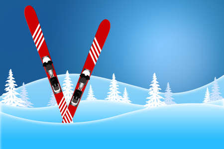 Blue winter scene of red skis standing in snow covered hills Standard-Bild - 117299706