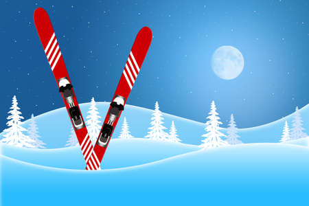 Blue winter scene of red skis standing in snow covered hills under a moon lit sky 스톡 콘텐츠