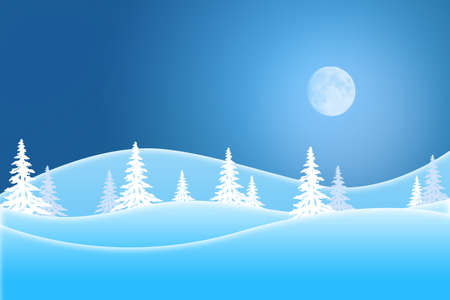 Blue winter scene of snow covered trees and hills under a moon lit sky Standard-Bild - 117299716
