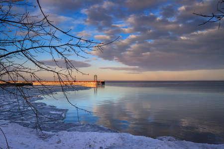 Beautiful sunset over the marina dock at Cold Lake, Alberta Stok Fotoğraf