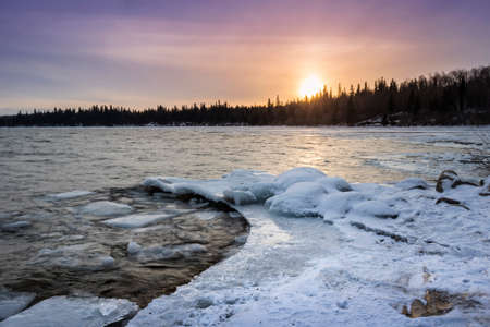 Sunset scene over the Provincial Park at Cold Lake, Alberta Standard-Bild - 117300045
