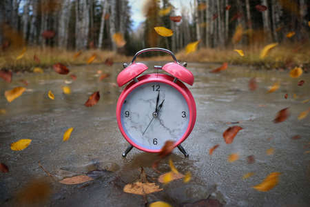 Autumn leaves blowing in the wind across an alarm clock on the ice Standard-Bild - 117300144