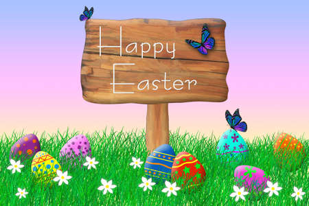 Wooden Sign Surrounded by Easter Eggs Standard-Bild - 123350931