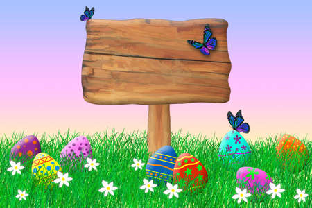 Wooden Sign Surrounded by Easter Eggs Standard-Bild - 123350932