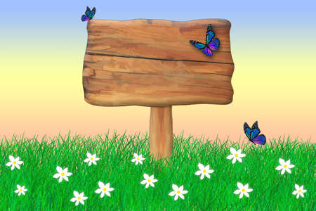 Wooden blank sign in the grass with butterflies flying around it