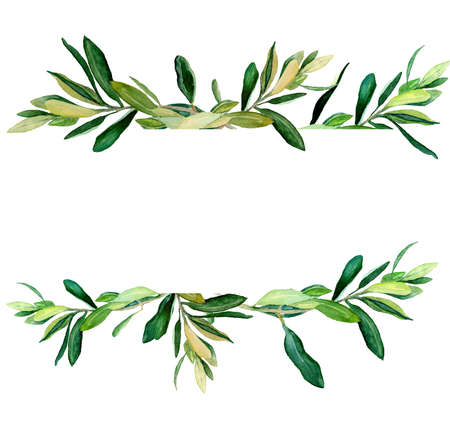 Watercolor olive branches template on white background. Hand drawn watercolor illustration. Design for covers, packaging, season offers, just add your text.