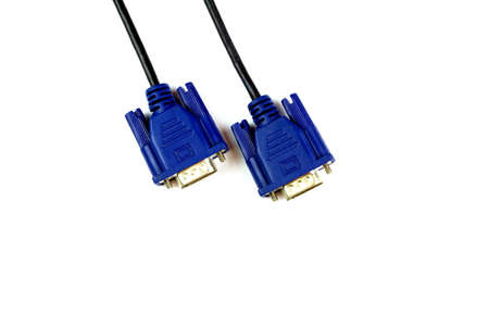 vga: cable VGA sobre fondo blanco, aislado Foto de archivo