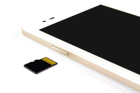 smart phone and micro sd card on white background