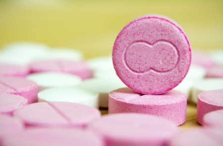 closed up: group of pink drugs closed up, macro Stock Photo