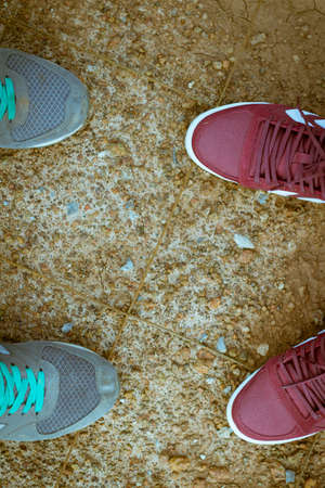foots: foots of couple traveller Stock Photo