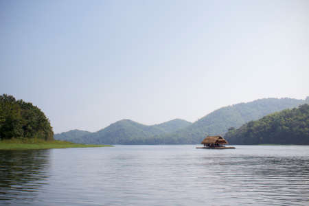 huay: a boat floating in the river, Huay Krating, Loei, Thailand Stock Photo